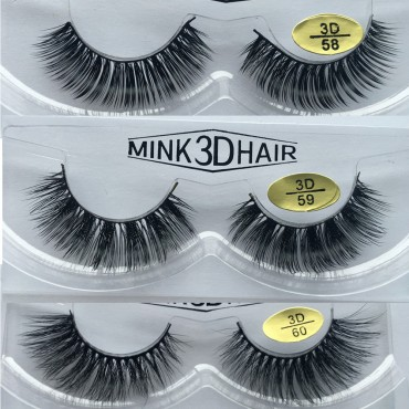 Wholesale 3 Pairs Natural Looking 3D Mink Fur Fake Eyelashes 3D58-3D60
