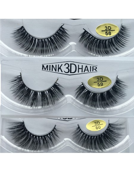 Free Shipping 3 Pairs Natural Looking 3D Mink Fur Fake Eyelashes 3D58-3D60