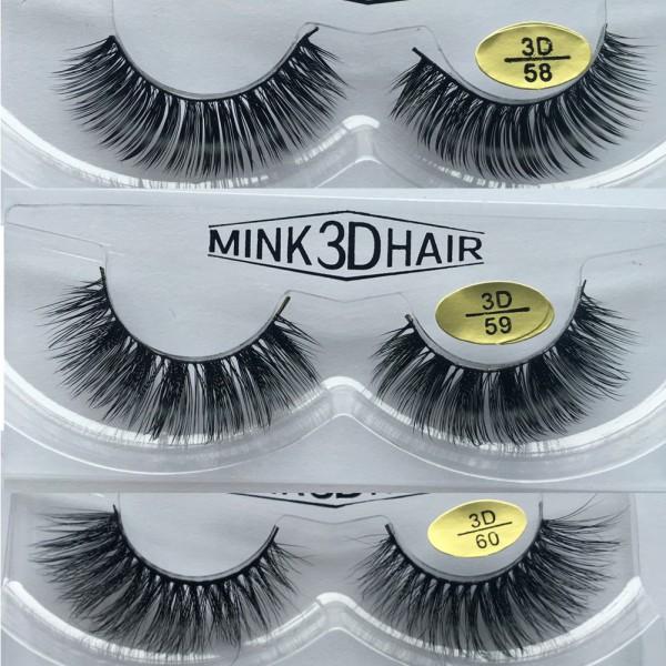 Wholesale 3 Pairs Natural Looking 3D Mink Fur Fake Eyelashes 3D58-3D60
