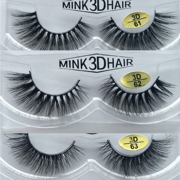 Wholesale 3 Pairs Natural Looking 3D Mink Fur Fake Eyelashes 3D61-3D63