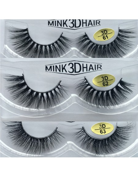 Free Shipping 3 Pairs Natural Looking 3D Mink Fur Fake Eyelashes 3D61-3D63