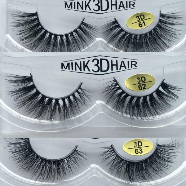 Wholesale 3 Pairs Natural Looking 3D Mink Fur Fake Eyelashes 3D61-3D63