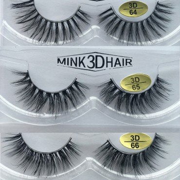 Wholesale 3 Pairs Natural Looking 3D Mink Fur Fake Eyelashes 3D64-3D66