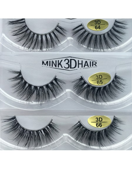 Free Shipping 3 Pairs Natural Looking 3D Mink Fur Fake Eyelashes 3D64-3D66