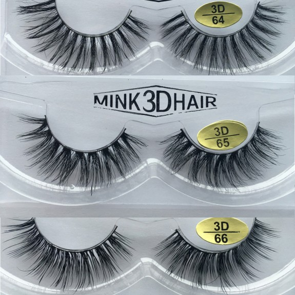 Free Shipping 3 Pairs Natural Looking 3D Mink Fur Fake Eyelashes 3D64-3D66