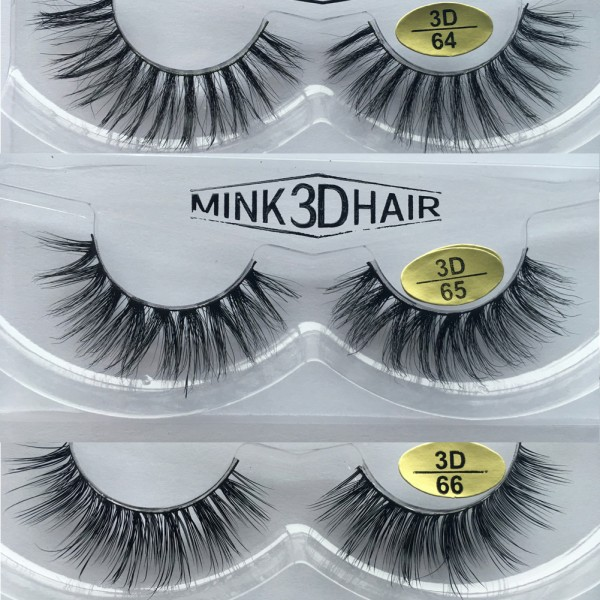 Wholesale 3 Pairs Natural Looking 3D Mink Fur Fake Eyelashes 3D64-3D66