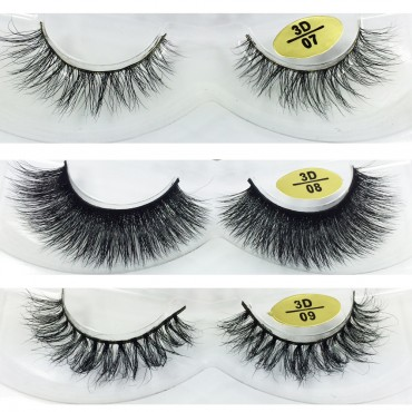 Free Shipping 3 Pairs Natural Looking 3D Mink Fur Fake Eyelashes 3D07-3D09