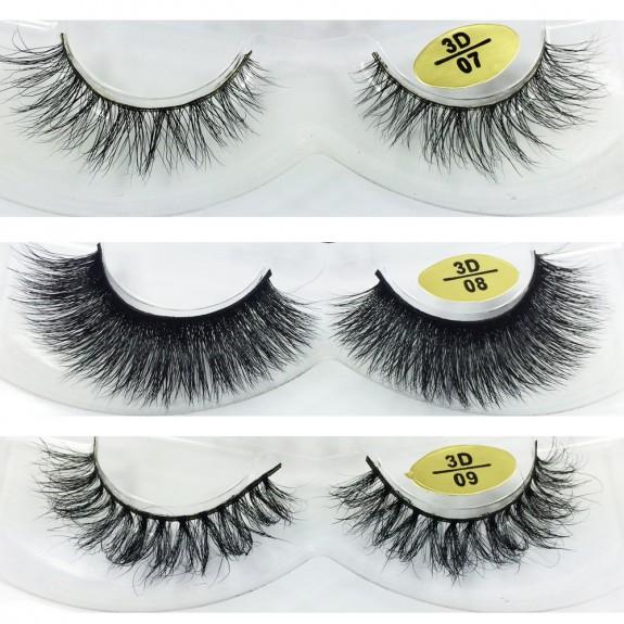 Free Shipping 3 Pairs Natural Looking 3D Mink Fur Fake Eyelashes 3D07-3D09