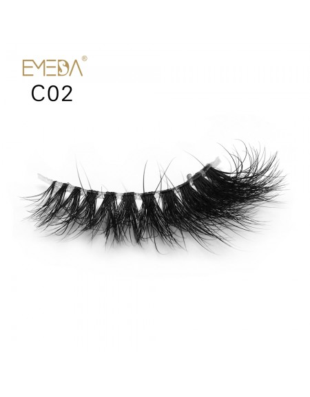 3D Mink crown grade c02 False Eyelashes-Dramatic Makeup Strip Eyelashes 100% Siberian Fur Fake Eyelashes Hand-made Natural Messy False Eyelashes& Reusable