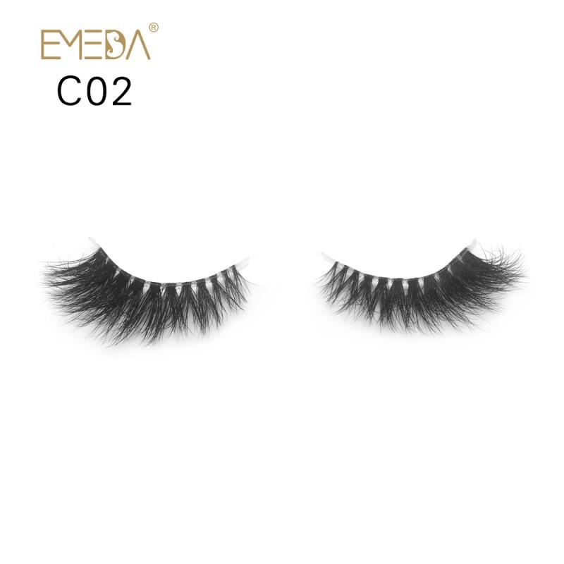 3D Mink crown grade c02 False Eyelashes-Dramatic Makeup Strip Eyelashes 100% Siberian Fur Fake Eyelashes Hand-made Natural Messy False Eyelashes& Reusable