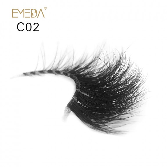 3D Mink Crown Grade 100% Siberian Fur Fake Eyelashes C02