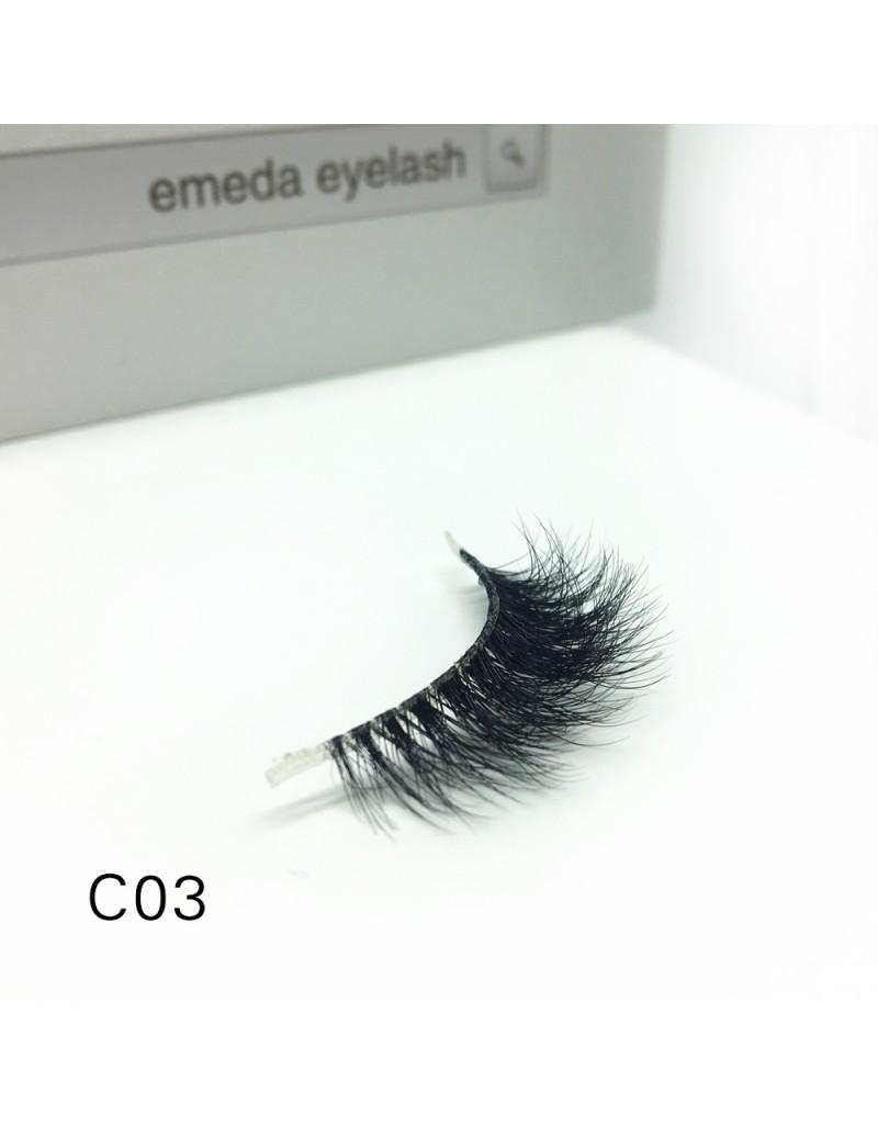 3D Mink crown grade c03 False Eyelashes-Dramatic Makeup Strip Eyelashes 100% Siberian Fur Fake Eyelashes Hand-made Natural Messy False Eyelashes& Reusable