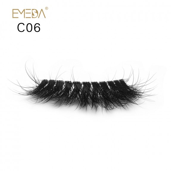 3D Mink crown grade c06 False Eyelashes-Dramatic Makeup Strip Eyelashes 100% Siberian Fur Fake Eyelashes Hand-made Natural Messy False Eyelashes& Reusable