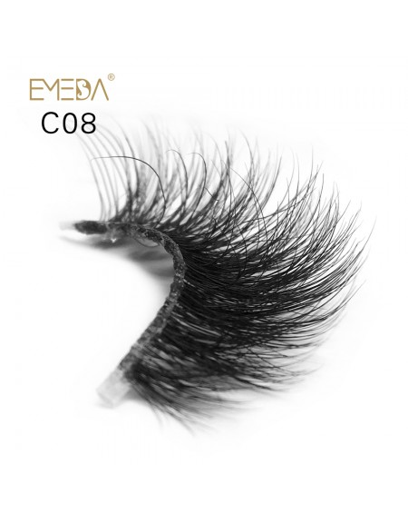 3D Mink crown grade c08 False Eyelashes-Dramatic Makeup Strip Eyelashes 100% Siberian Fur Fake Eyelashes Hand-made Natural Messy False Eyelashes& Reusable