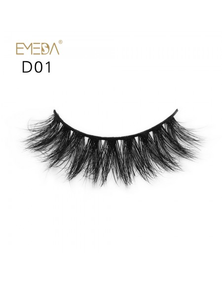 Mink 3D mink diamond grade D01 Lashes Dramatic Makeup High Quality Strip Eyelashes 100% Siberian Fur Fake Eyelashes Hand-made False Eyelashes