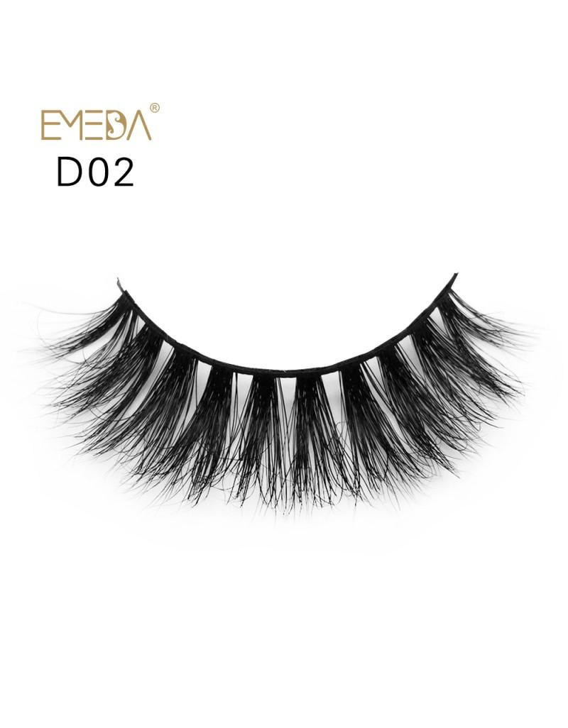 Mink 3D mink diamond grade D02 Lashes Dramatic Makeup High Quality Strip Eyelashes 100% Siberian Fur Fake Eyelashes Hand-made False Eyelashes