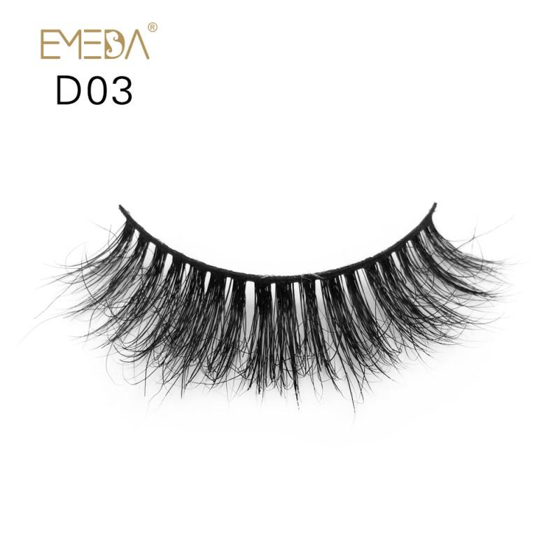 Mink 3D mink diamond grade D03 Lashes Dramatic Makeup High Quality Strip Eyelashes 100% Siberian Fur Fake Eyelashes Hand-made False Eyelashes