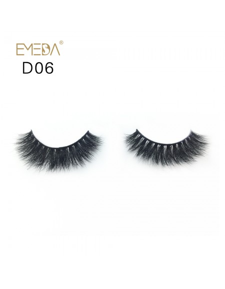 Mink 3D mink diamond grade D06 Lashes Dramatic Makeup High Quality Strip Eyelashes 100% Siberian Fur Fake Eyelashes Hand-made False Eyelashes