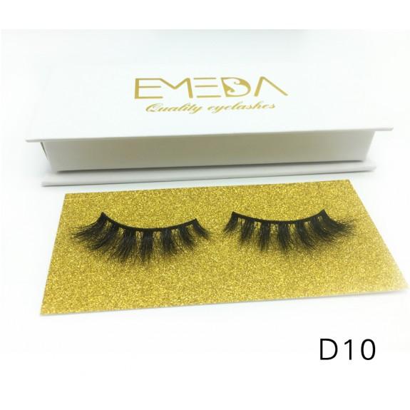 Mink 3D mink diamond grade D010 Lashes Dramatic Makeup High Quality Strip Eyelashes 100% Siberian Fur Fake Eyelashes Hand-made False Eyelashes