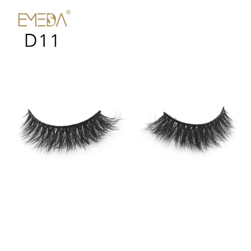 Mink 3D mink diamond grade D011 Lashes Dramatic Makeup High Quality Strip Eyelashes 100% Siberian Fur Fake Eyelashes Hand-made False Eyelashes