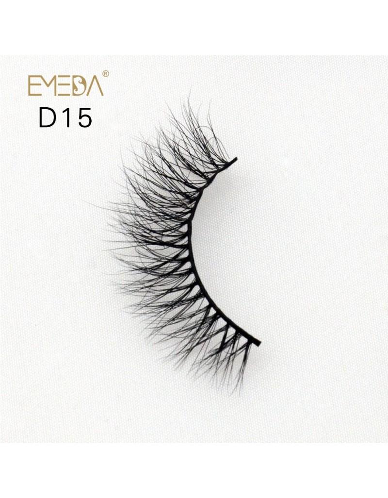 Mink 3D mink diamond grade D015 Lashes Dramatic Makeup High Quality Strip Eyelashes 100% Siberian Fur Fake Eyelashes Hand-made False Eyelashes