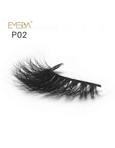 3D Mink platinum grade p02 100% Handmade Strip Lashes, Pinkzio Reusable Extra Thick, Dramatic Volume Double Layer Fake Lashes