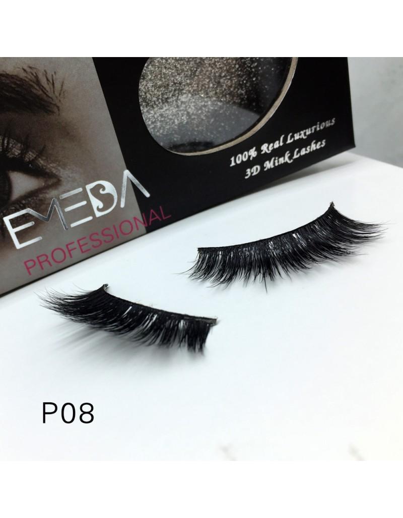 3D Mink platinum grade p08 100% Handmade Strip Lashes, Pinkzio Reusable Extra Thick, Dramatic Volume Double Layer Fake Lashes