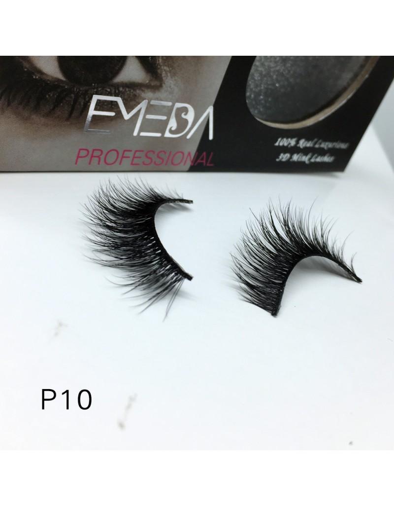 3D Mink platinum grade p010 100% Handmade Strip Lashes, Pinkzio Reusable Extra Thick, Dramatic Volume Double Layer Fake Lashes