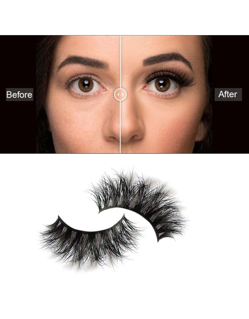 EMEDA 3D 008 Mink Magnetic False Eyelashes Long Thick Mink Magnetic Eyelashes Siberian Mink Fur Lash with Magnet