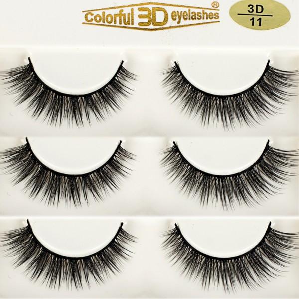 Whosale Best quality 3D Silk diamond grade lashes 3 pairs 3D11