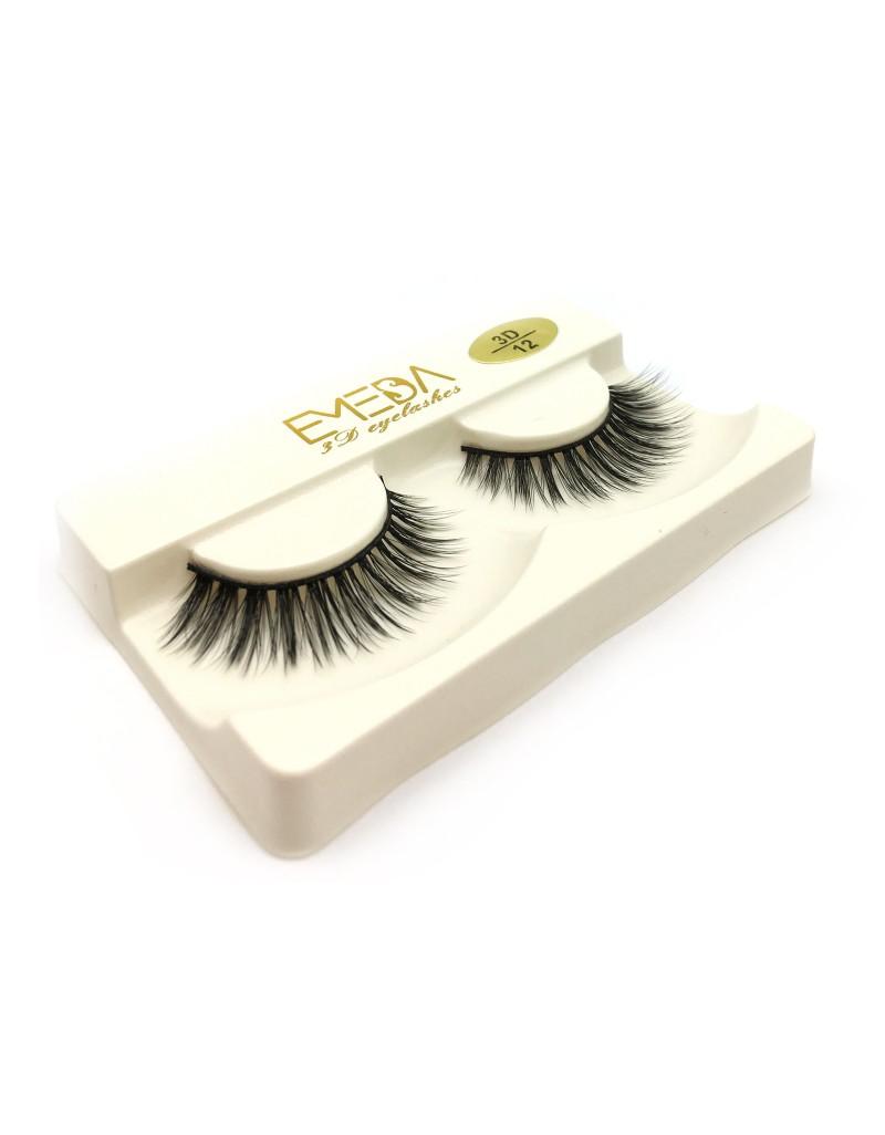Natural Looking Silk Lashes China 3D Silk diamond grade lashes 3 pairs 3D12