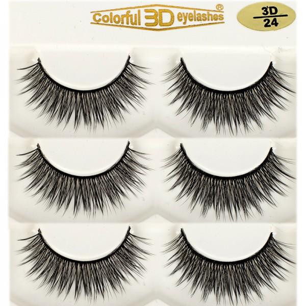 Whosale Best quality 3D Silk diamond grade lashes Manufacturers 3 pairs 3D24