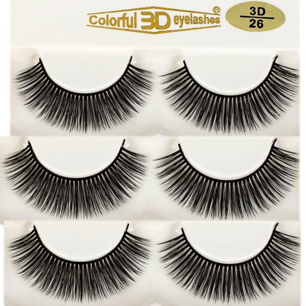 Wholesale 3D Silk diamond grade lashes Manufacturers 3 pairs 3D26