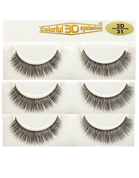 Soft 100% handmade 3D Silk diamond grade lashes 3 pairs 3D31