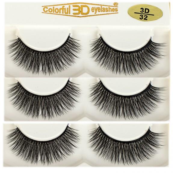 High Quality Soft 100% handmade 3D Silk diamond grade lashes 3 pairs 3D32