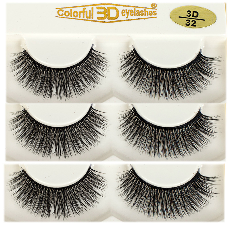 High Quality Soft 100% handmade 3D Silk diamond grade lashes 3 pairs 3D32