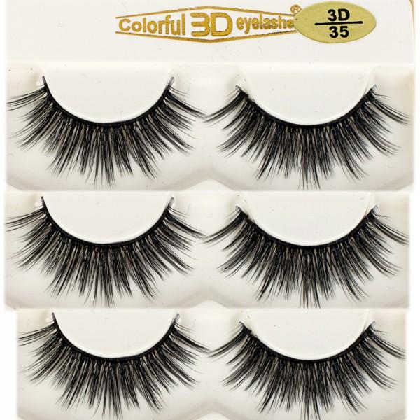 Wholesale 3D Silk diamond grade lashes Natural Looking 3 pairs 3D35
