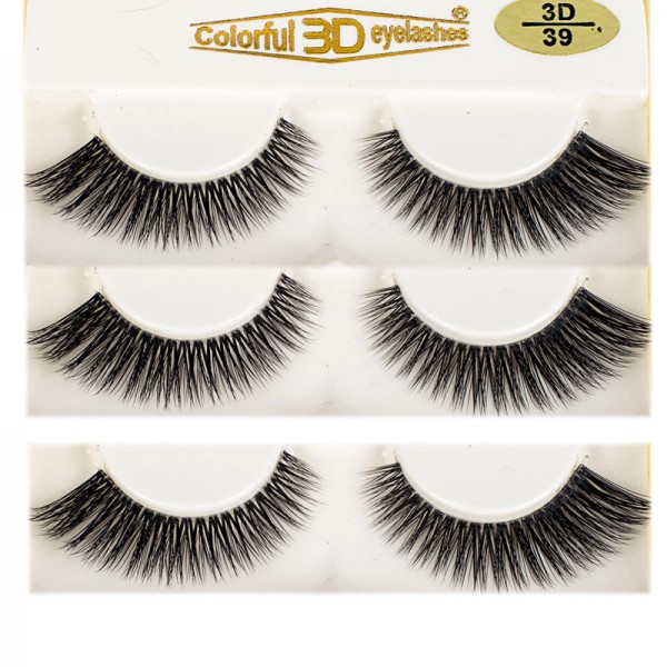 Wholesale Natural Looking 3D PBT Silk diamond grade lashes 3 pairs 3D39