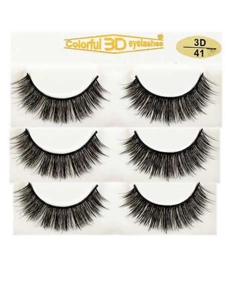 Natural Looking Silk Lashes 3D Silk diamond grade lashes 3 pairs 3D41