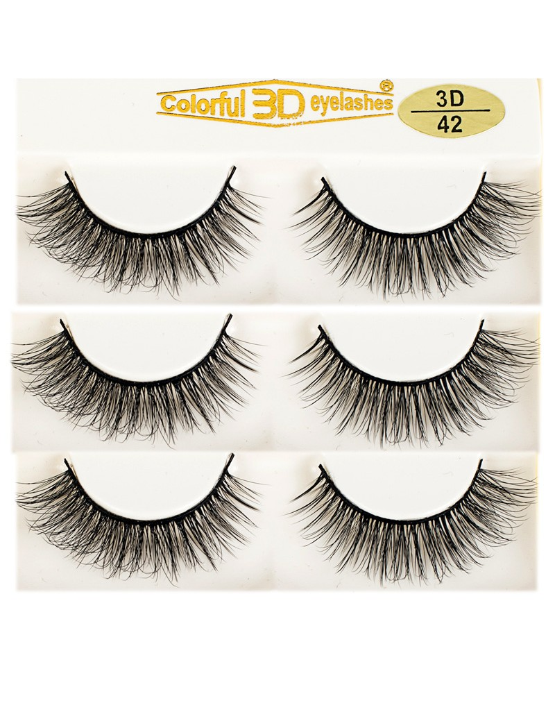 Most Popular Style 3D Silk diamond grade lashes Factory Price 3 pairs 3D42