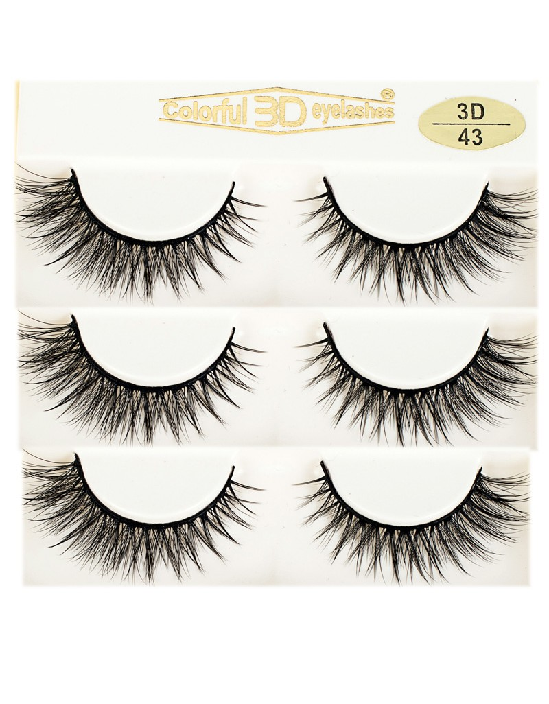 Soft Natural Looking 3D Silk diamond grade lashes Factory Price 3 pairs 3D43