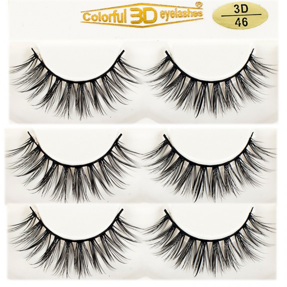 Supplier 3D Silk diamond grade lashes Natural Looking 3 pairs 3D46