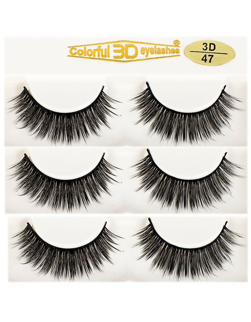 High Quality 3D Silk diamond grade lashes Natural Looking 3 pairs 3D47