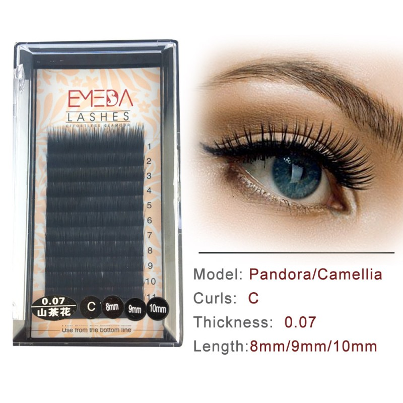 C 0.07mm/0.10mm/0.15mm Mixed Length in One Lash Strip (8-9-10mm) Camellia Pandora Eyelash Extensions
