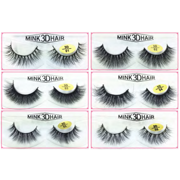 Natural Looking 3D Mink Fur Fake Eyelashes 3D01-3D06