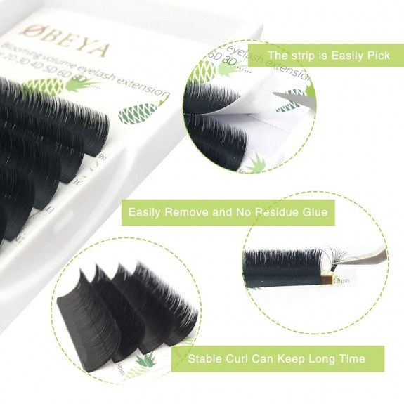 10 Rows 0.10mm C/D Curl 9-15mm Mix Length 3D 4D 5D 6D 8D 10D Easy Fan Blooming Volume Eyelash Extension Mix Length Tray