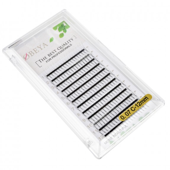 C D Curl 0.07mm 0.1mm 0.15mm thickness 12mm Single Length  3D Wholesale Premaade Fans Eyelashes
