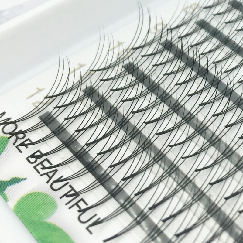 0.07mm Thickness C Curl 12mm Single Length 3D Premade Fans Eyelash Extensions Middle Stick