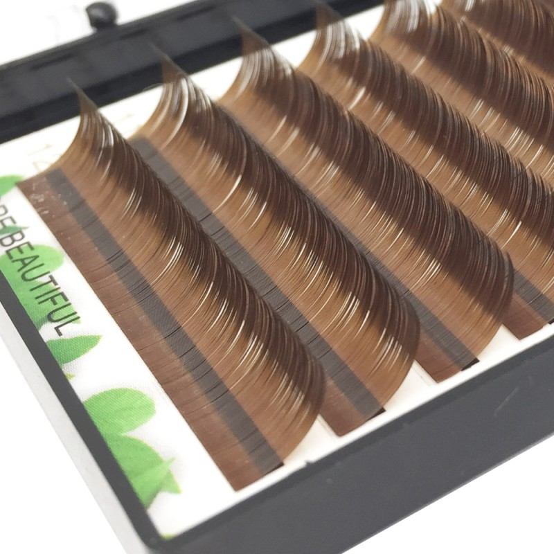 Dark Brown 0.07/0.10/0.15mm Thickness 8-15mm Single Length J/B/C/D Curl Colored Lash Extension