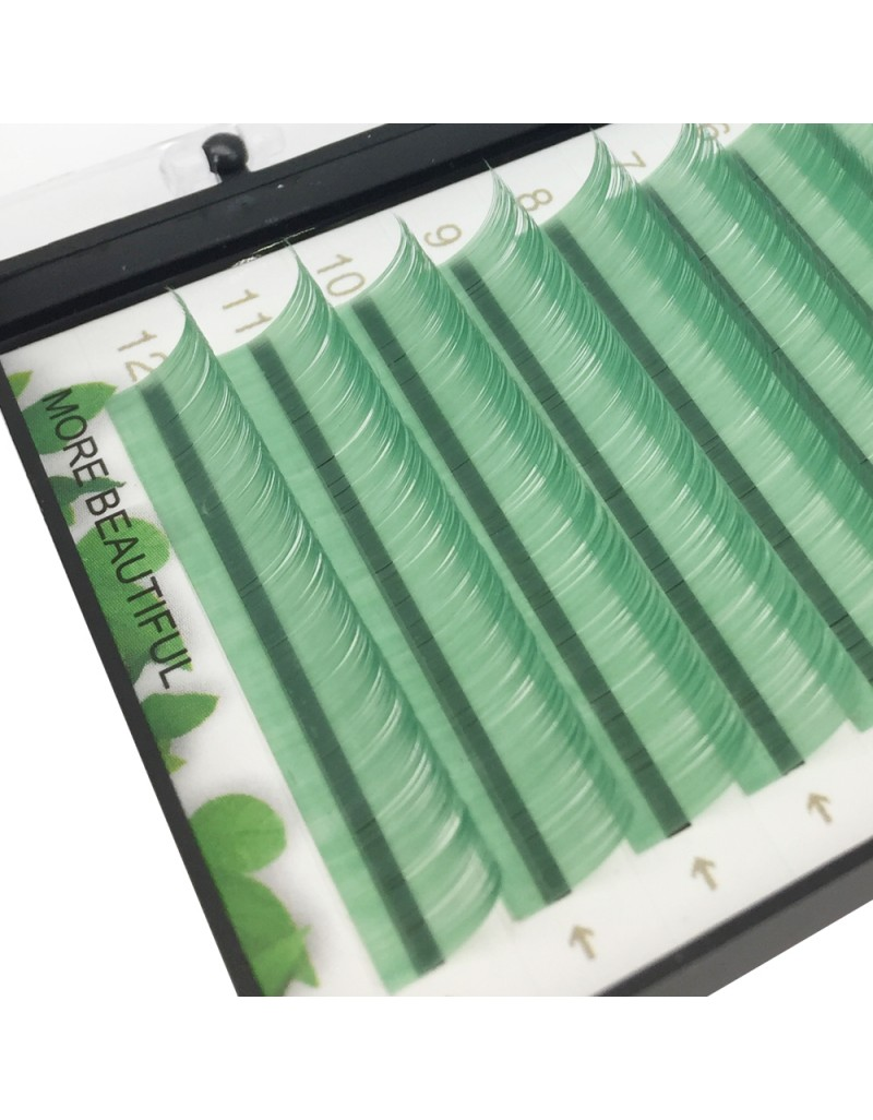 Colored eyelash extensions light green wholesale vendors 0.07 Thickness C Curl Fake Eyelash Extensions Tray 8-16mm Natural Thick   Lashes Individual Semi-Permanent Eyelashes Application for Professional Salon Use
